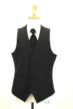 mens black CLASSIC SUIT VEST sleeveless jacket formal occasion M 40 R #Unknown
