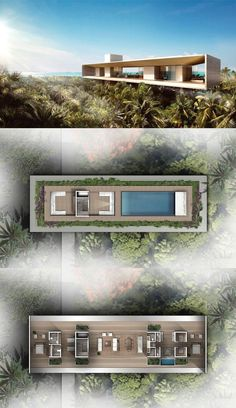 hotel planos Mandarin Oriental, Turks and Caicos Tree-top Villas House Layout Plans, House Layouts, House Plans, Architecture Plan, Contemporary Architecture, Villa Plan, Casa Loft, Modern Villa Design, Model House Plan