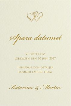 Save-the-date kort, Hearts vanilj i gruppen BRÖLLOP / KORT / Save-the-date hos Calligraphen i Munkfors AB (set286402Asd)
