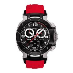 TISSOT T-RACE Chronograph Garde-temps sportif inspiré des courses motorisées, la montre Homme Tissot T-Race est animée par un mouvement quartz de fabrication suisse. Dotée d'une boîte en acier inoxydable et d'une glace saphir inrayable qui protège les trois cadrans du chronographe et de l'indicateur de date, le modèle possède un bracelet en caoutchouc rouge avec une boucle déployante à poussoirs. Avec la Tissot T-Race, l'amour pour les sports mécaniques ne sera pas prêt de s'arrêter
