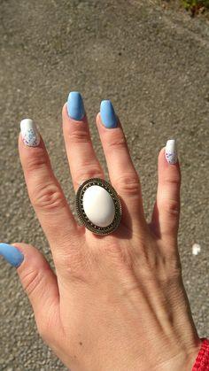 Blue white Acrylic nails,gel nails
