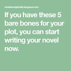 If you have these 5 bare bones for your plot, you can start writing your novel now.