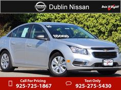 2015 Chevrolet Chevy Cruze LS  Silver $14,585  miles 925-725-1867 Transmission: Automatic  #Chevrolet #Cruze #used #cars #DublinNissan #Dublin #CA #tapcars