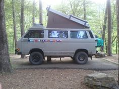 This vehicle is a 4 wheel drive Volkswagen Synchro. I met this couple at the Longpool Campground. They are planning on driving from Alaska to as far as they can go south in Argentina. The lady told me they wanted to drive thru the 3 Americas: South, Central, and North.