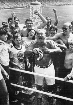 Harry Caray gets a shower at Comiskey, 1978, Chicago