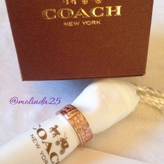 Coach Ring  100% Authentic Coach Signature Ring. Color: Rose Gold. Coach is etched inside this gorgeous ring. Comes with Dust Bag care card, and Coach Gift Box. No trades or PP. REASONABLE OFFERS ARE WELCOME  Coach Jewelry Rings