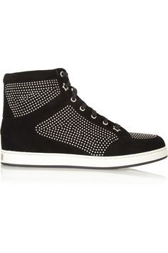 Jimmy Choo | Tokyo studded suede high-top sneakers | NET-A-PORTER.COM