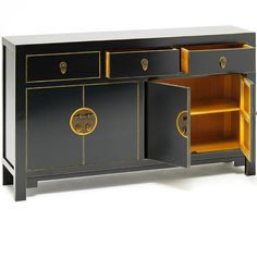 The Nine Schools Qing black and gilt large sideboard - Chinese sideboard with three large drawers and two double door opening with removable shelf. Steel pin closure in satin black finish with gold distressed edges. Black Sideboard, Large Sideboard, Chinese Furniture, Oriental Furniture, Asian Furniture, Lacquer Furniture, Online Furniture, Furniture Styles, Furniture Design