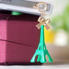 Eiffel Tower small bow dust plug green for $6 Only! Shop Now! for order queries inbox us at https://www.facebook.com/Glamourforgirls or email us at glamourous_girls@hotmail.com