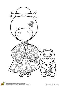 "iColor ""Kokeshi Dolls"" etc. Learn Embroidery, Embroidery Patterns, Machine Embroidery, Hand Embroidery, Colouring Pages, Adult Coloring Pages, Coloring Books, Maneki Neko, Asian Cards"