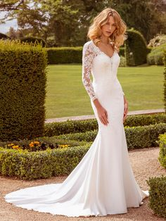 Our stunning sheath wedding dress has combination stretch crepe and lace appliqués scattered on to full length sleeves and illusion back. For a bride writing her own modern princess fairy-tale. Find a stockist near you and request an appointment. Mermaid Trumpet Wedding Dresses, Crepe Wedding Dress, Wedding Dresses For Sale, Wedding Dress Shopping, Bridal Wedding Dresses, Ellis Bridal, Different Dresses, Stretch Satin, Bridal Boutique