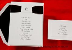 Invitations for a Wedding One Initial and Black Ribbon