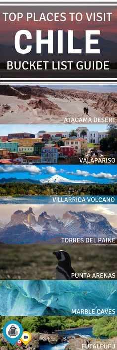 A guide to the top 10 travel destinations in Chile including Patagonia, the Atacama Desert, the Marble Caves, Punta Arenas and more. Use this list to plan for the ultimate Chile itinerary! Travel in South America. | Back-packer.org #Travel #Chile