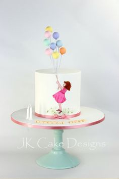 Balloon cake hand painted girl