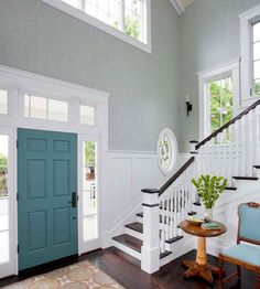Frame It In stairways and rooms with vaulted ceilings, where floor-to-ceiling wallpaper installation might be too much, consider framing the wallpaper with painted moldings. Here, light teal wallpaper with a subtle vertical pattern emphasizes the ceiling's height. White paneling below and thick trim around the doors and windows keeps the wallpaper from being too much.