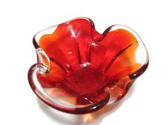 Vintage 1950's 60s Red Art Glass Italy by OxbowCreekExchange, $32.00
