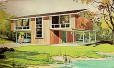 Trendy Vintage House Plans Mid Century Homes A Frame 44 Ideas Exterior Colors, Interior And Exterior, Interior Design, Vintage House Plans, Home Planner, One Story Homes, A Frame House, Traditional Landscape, Mid Century House