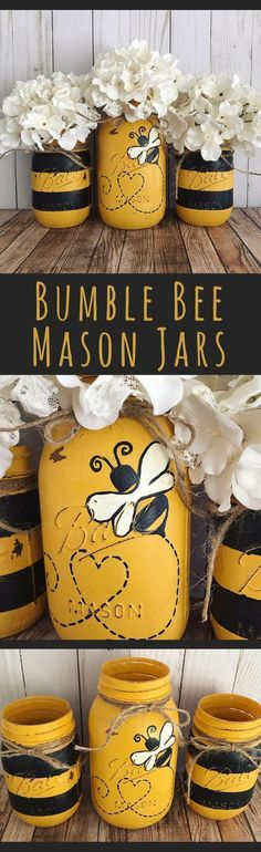 Bumble Bee Mason Jars - home decor, Set of 3 Mason jars, black and yellow stripes, table centerpiece Pot Mason, Mason Jar Gifts, Mason Jar Diy, Jar Crafts, Cute Crafts, Crafts To Make, Mason Jar Projects, Mason Jar Centerpieces, Birthday Centerpieces