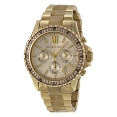 Michael-Kors-Everest-Light-Champagne-Dial-Gold-tone-and-Horn-Acetate-Ladies
