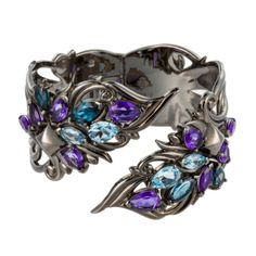 Stephen Webster  Pop Superstud Black Rhodium Plated Silver Cuff With Blue Topaz
