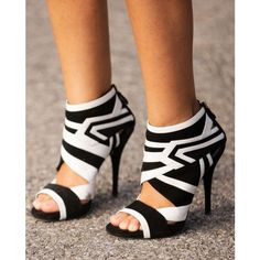 Cute - Adorable Black and White Zebra Stripe Hollow Out Pumps you best choice for Party, Date, Big day, Anniversary -TOP Design by FSJ