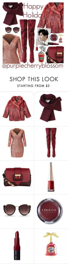 """Happy Holidays! @purplecherryblossom"" by elliewriter ❤ liked on Polyvore featuring Lacoste, Cape Robbin, Burberry, Rebecca Taylor, Bobbi Brown Cosmetics and Thomas Kinkade"