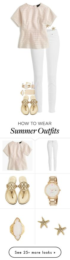 """Summer dinner outfit"" by sassy-and-southern on Polyvore featuring Paige Denim, J.Crew, Tory Burch, Max & Chloe, HEATHER BENJAMIN, Essie and Kate Spade"