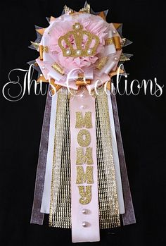 Vintage Princess themed baby shower pin/mum/corsage set in baby pink, white, and gold... #JhisCreations