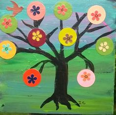 Original mixed media painting on wood Happy tree Tree of life Penny Tree Bird #OutsiderArt