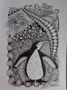 Penguin Zentangle for a friend (to be matted)