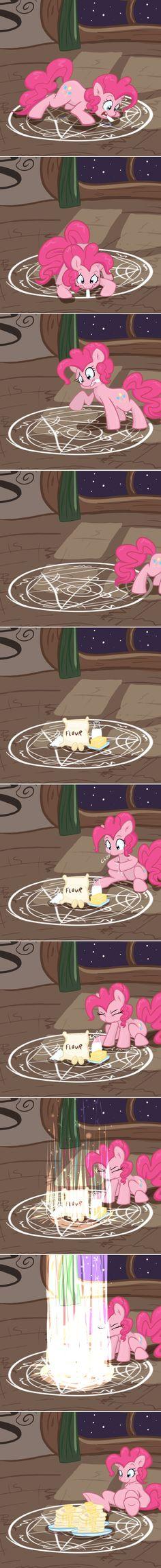 Bruh i thought she was makin a demon trap, not using alchemy, full metal alchemiy's pinkie pie :) Pinkie Pie, Fullmetal Alchemist, Mlp Memes, Little Poni, Mlp Comics, My Little Pony Comic, Mlp Fan Art, Mlp Pony, My Little Pony Friendship