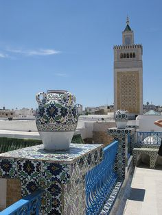Ceramics and minarets in the old city of Tunis, Tunisia (by Nadeem_London).
