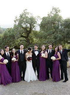 Love this...dark dresses with white flowers, dark flowers against the white bridal dress
