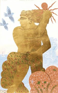 "blastedheath: "" Alecos Fassianos (Greek, b. Serigraph in colour and gold leaf on paper, retouched by hand, 105 x 65 cm. Greek Paintings, Ancient Myths, Greek Art, Artist Art, Figurative Art, Mythology, Folk Art, Illustration Art, Artsy"