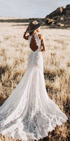 18 Rustic Lace Wedding Dresses For Different Tastes Of Brides ❤ rustic lace wedding dresses open back boho with sleeves lovers society ❤ weddingdresses 694328467531361947 Popular Wedding Dresses, Western Wedding Dresses, Bohemian Wedding Dresses, Bridal Dresses, Wedding Dress Country, Romantic Dresses, Country Weddings, Vintage Weddings, Lace Weddings