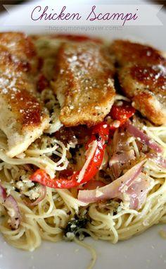 Chicken Scampi Recipe- Better than Olive Garden! ::happymoneysaver.com::  #pasta #chickenscampi #olivegarden #homemade