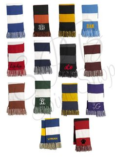 Custom Embroidered Monogram Striped Scarves by SmartyPantsBoutique, $15.00