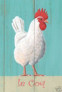 French Cockerel art poster print by Martin Wiscombe on ebay