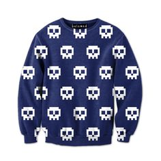 "belovedwear® presents the #PixelSkulls Sweatshirt by Drew Wise. This ""all over"" print crewneck sweatshirt is made using a special sublimation technique to provi"