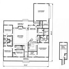 Big Country House Plan 5746 - 4 Bedrooms and 3 Baths | The House Designers - don't like how master is off the kitchen but like the extra bedroom size, baths & porches!