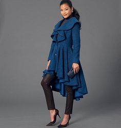 Coat and jacket sewing pattern from McCall's featuring dramatic flared collar and skirt. M7256, Misses' Coats. Length and sleeve variations.