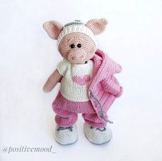 Knitted toy Funny pink Piggy / crochet animal