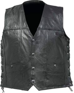 diamond plate rock design genuine buffalo leather concealed carry vest - 2x