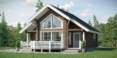 24 ft x 28 ft sq ft Log Cabin Kit 2 Story 3 Bed Wooden Guest House / Home Villa Design, House With Porch, House In The Woods, Style At Home, 2 Story House Design, Casas Country, Cosy House, Montana Homes, Farmhouse Floor Plans