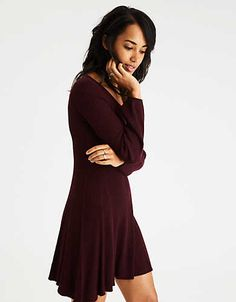 AE Ahh-Mazingly Soft Puff-Sleeve Sweater Dress