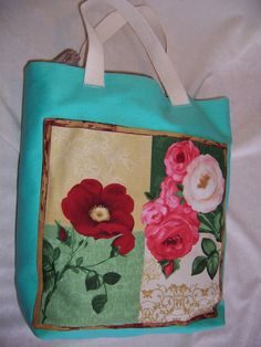 Colorful Tote Handcrafted from Heavy Duty by Tigerseyecrafts