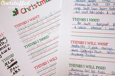 Christmas List Free Printable Download. Includes categories for wants, needs, clothing, and books. #overstuffedlife