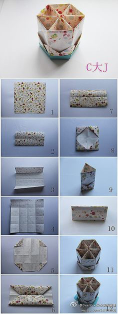 Creative DIY] [Origami tutorial map, teach you fold Pen. As long as selecting your favorite wrapping paper can begin it Origami Diy, Origami And Kirigami, Origami Paper Art, Origami Tutorial, Diy Paper, Paper Crafting, Oragami, Dollar Origami, Origami Ball