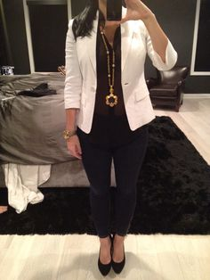 White jacket from Bebe, bcbg shirt, Bebe jeans , Bebe shoes, mk watch, chanel necklace.