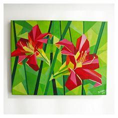 OBRAZ AKRYLOWY KWIAT 03 dwie czerwone lilie, obraz 30 x 40 cm, geometryczny motyw autorstwa Magdaleny Purol, 350 PLN piękne żywe barwy #redlily #czerwone #lilie #acrylic #painting
